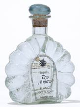 tres mujeres blanco tequila with metal label