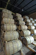 oak barrels are used to age tequila at hacienda la capilla