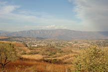 view of tequila, jalisco from a hillside road