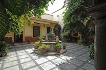the courtyard inside the sauza family museum in tequila, jalisco, mexico